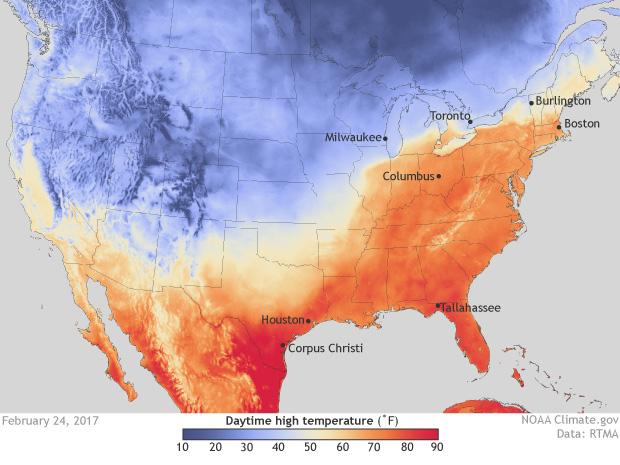 Max temperature, high temperature, RTMA, USA