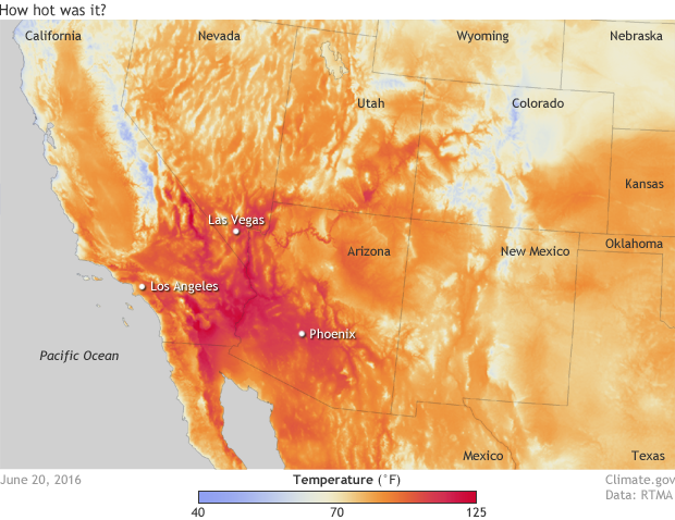 color-coded map of the U.S. Southwest with temperatures above 70 degrees F in orange and red colors and temperatures below 70F in shades of blue