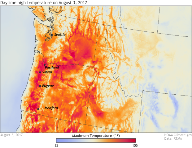 Record high temps in Pacific NW on 8/3/2017