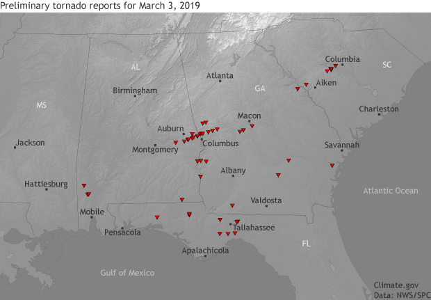 tornado, locations, southeast