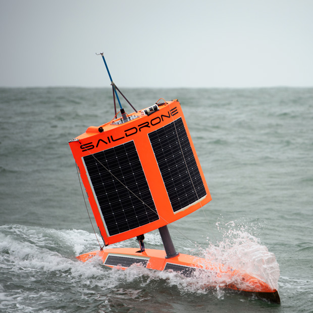 Photo of Saildrone 1020 gliding through the waters of the Southern Ocean