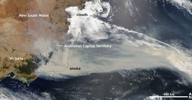 smoke from Australia fires in satellite image
