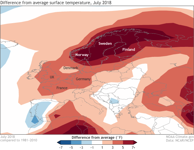 temperature, anomaly, heat wave, Europe