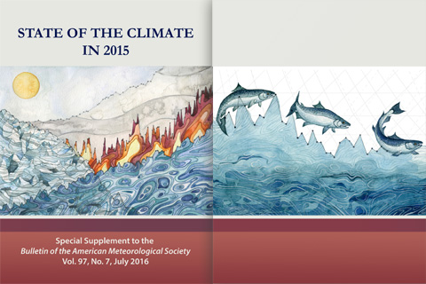 front and back cover of the BAMS 2015 State of the Climate report