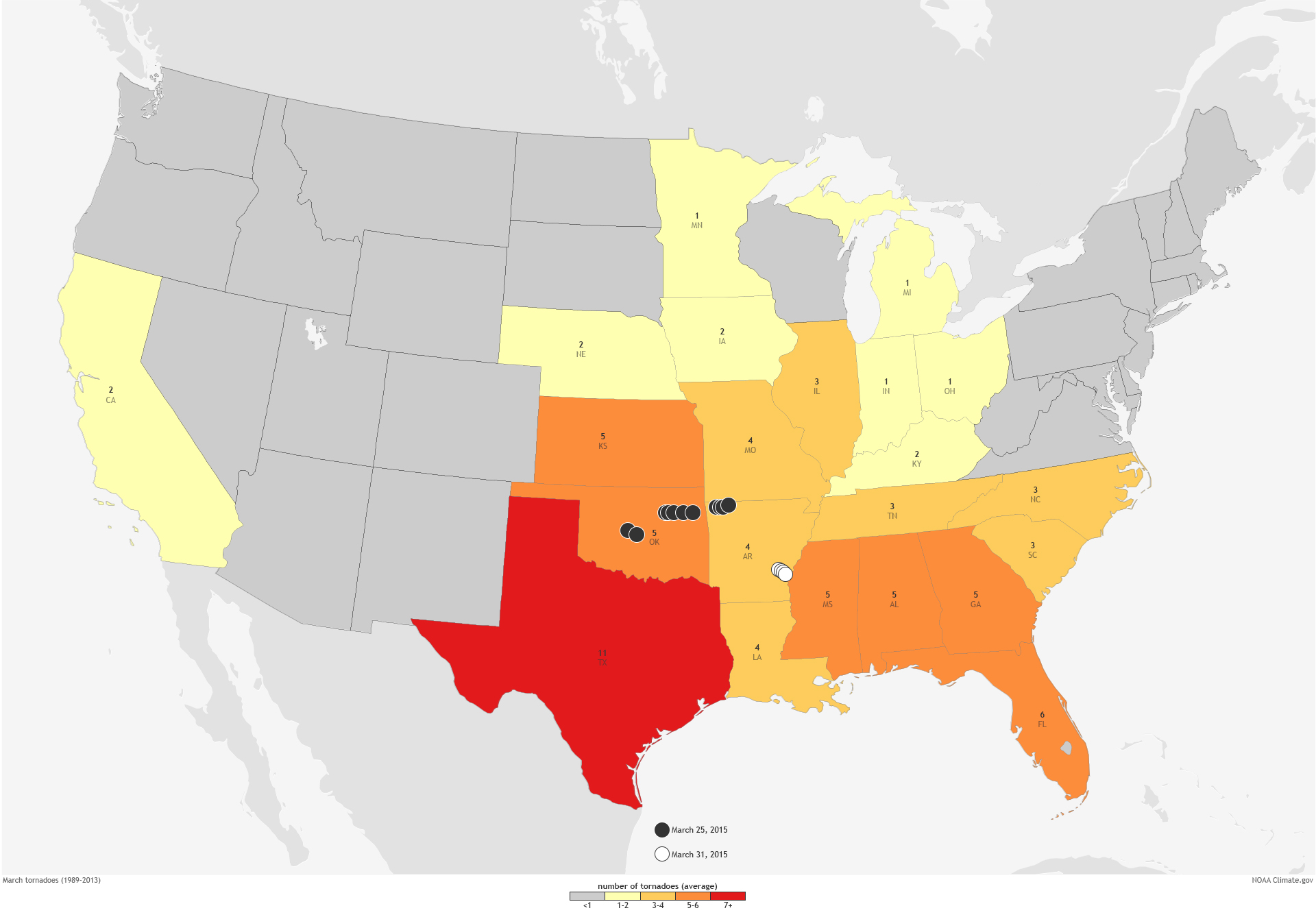 The Arkansas Weather Blog New Tornado Statistics Arkansas IS - Us weather map march
