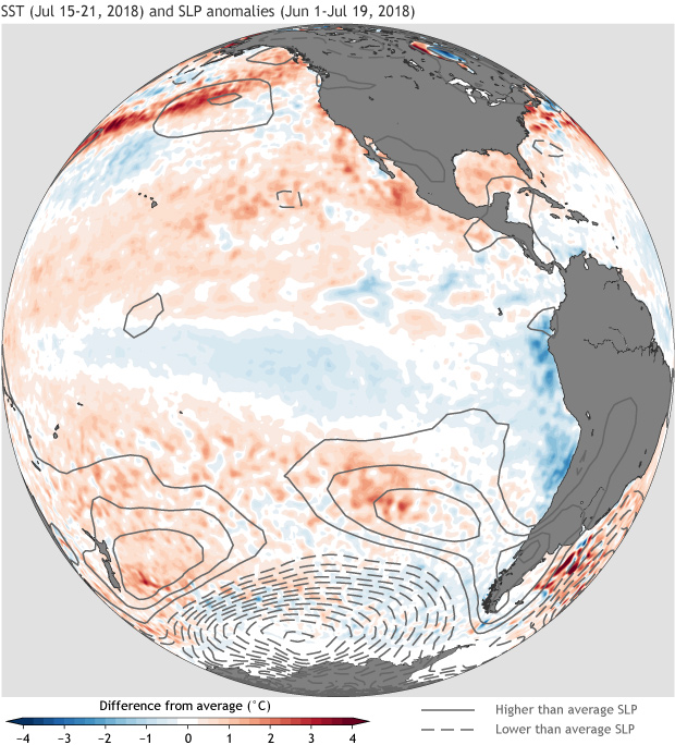 Sea level pressure, SST, South Pacific Ocean
