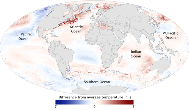 Global map of sea surface temperatures, 2012