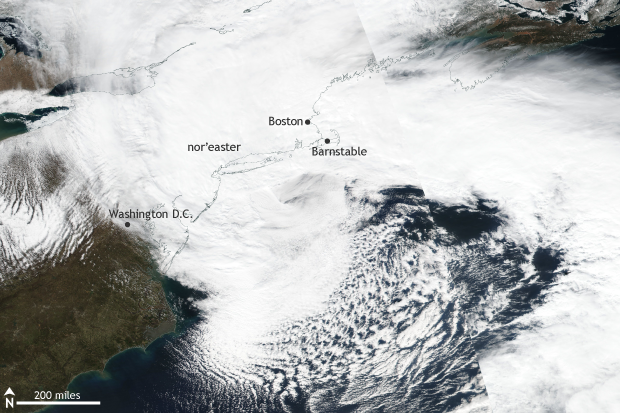 VIIRS, Suomi, satellite, nor'easter, snowstorm, snow, east coast