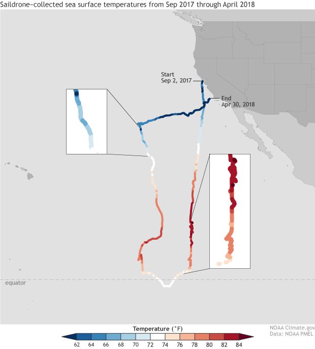 Sea surface temperatures recorded by saildrones