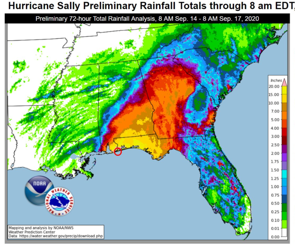 Map of preliminary rainfall totals from Hurricane Sally