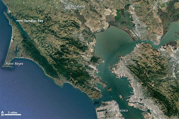 Satellite image of San Francisco Bay and Point Reyes