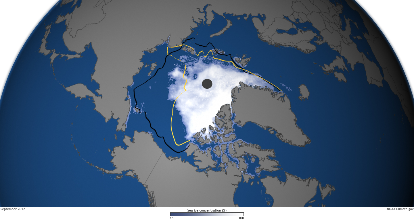 State Of The Climate Arctic Sea Ice NOAA Climategov - Us gove ice map