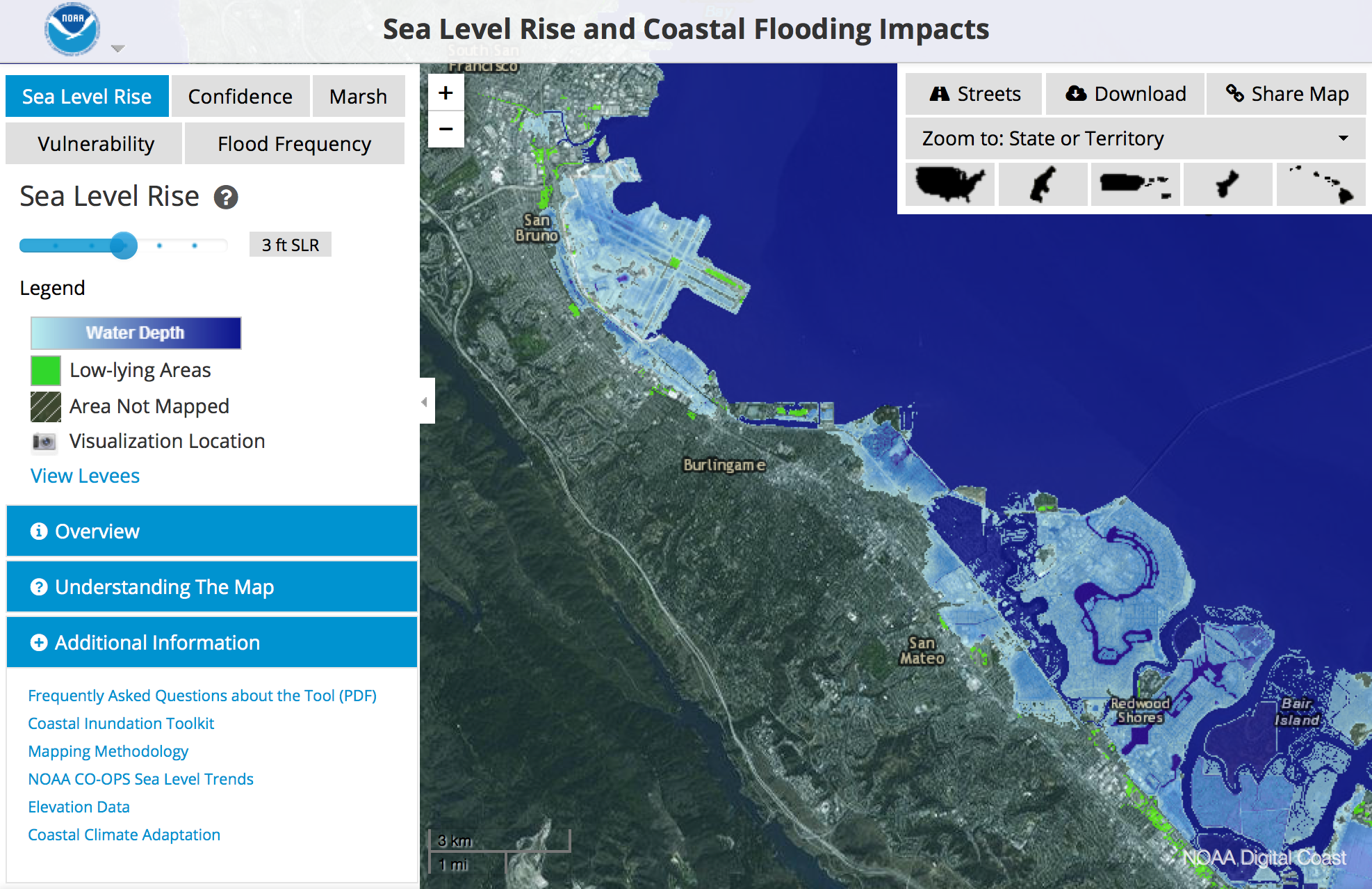 Sea Level Rise Map Viewer NOAA Climategov - Water rising map
