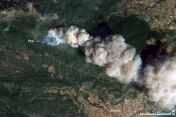 Wildfire, Satellite, Sentinel, EU, Greece,