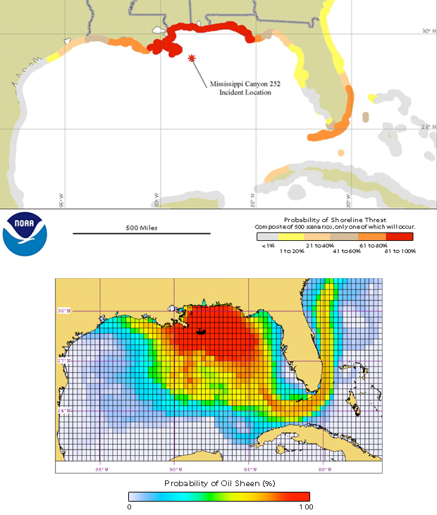 Two maps showing probability of shoreline threat and oil sheen due to the oil spill