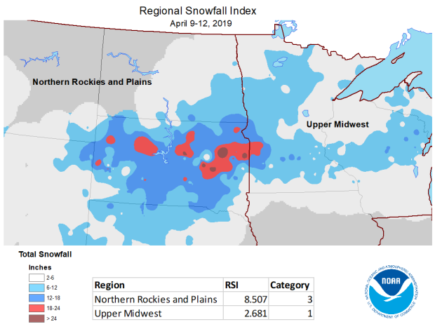 Snowfall associated with the April 2019 blizzard