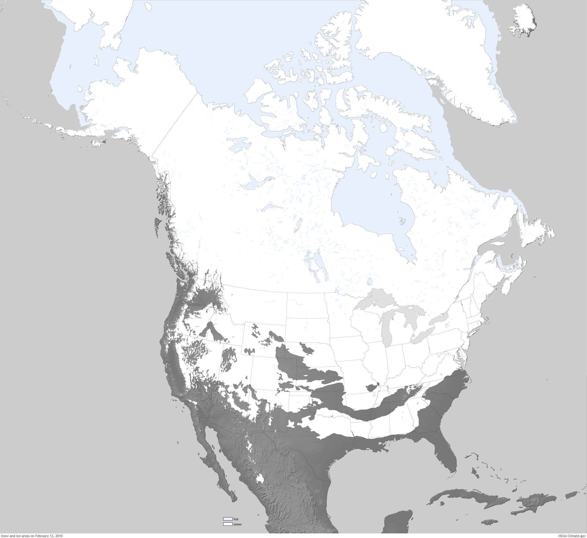 Five Years Ago This Week All States Had Snow On The Ground - Us snow cover map noaa