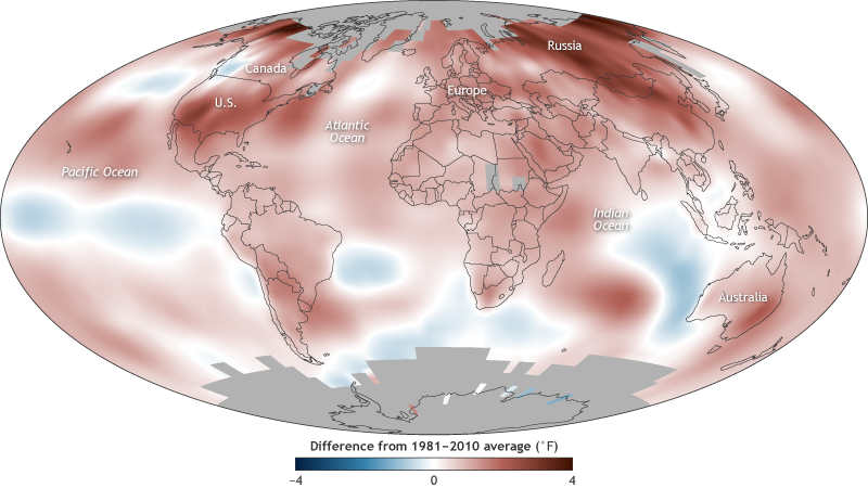 global map of 2017 surface temperature compared to average, with reds showing warm areas and blues showing cool areas