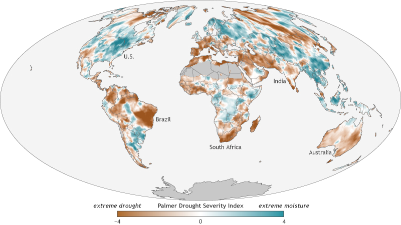 Global map showing where drought conditions were worse (brown colors) or better (blue-green colors) than average in 2017