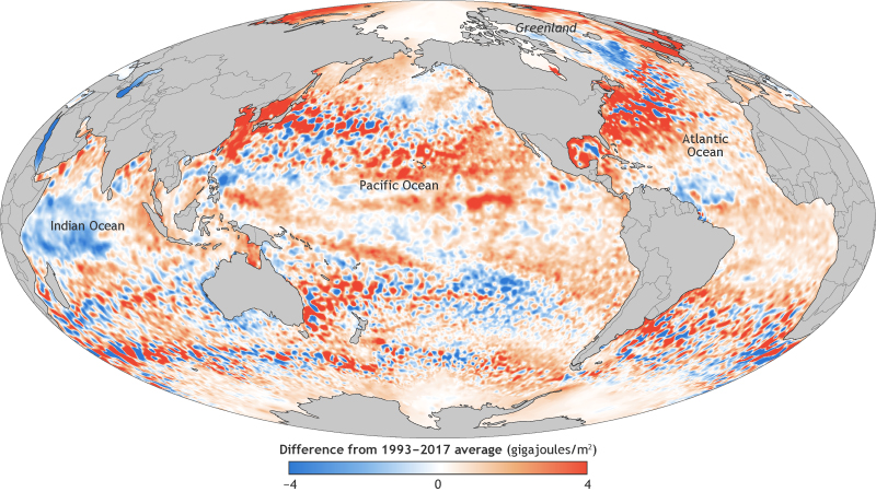 global map of ocean heat content in 2017 compared to the long-term average