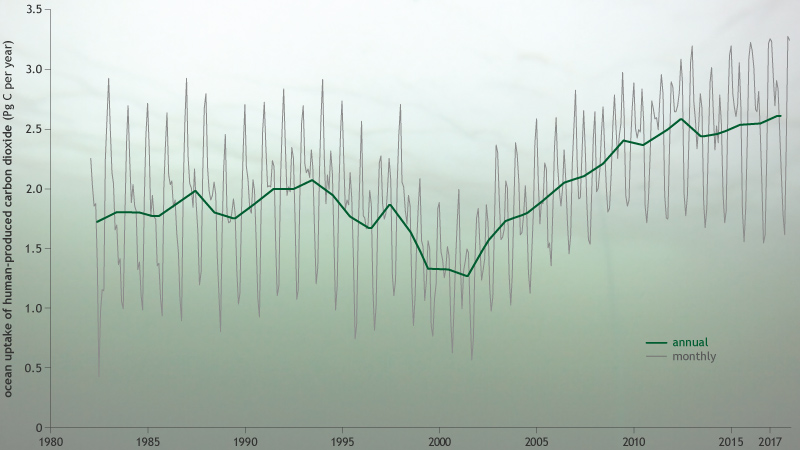 line graph of increasing net ocean uptake of human-produced carbon emissions from 1982–2017