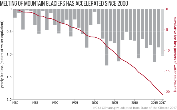bar graph showing year glacier mass balance (gains or losses in water equivalent) from 1980–2017 for ~40 glaciers with at least 30 years of data