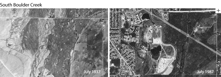 Aerial views of Boulder in 1937 and 1987