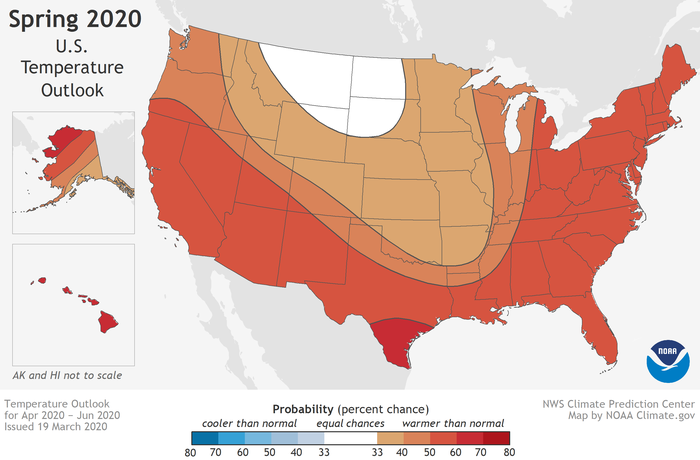 Map of the U.S. with shades of red and orange showing probability for unusually warm temperatures in spring 2020
