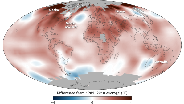 global temperature map 2016