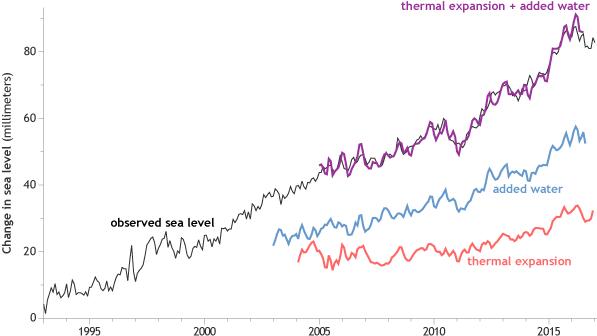 Laju peningkatan tinggi muka laut mencapai rekor tertinggi di tahun 2016. Estimasi independen menunjukkan bahwa air meningkat karena air meleleh dari gletser dan lapisan es (garis biru) ditambah ekspansi panas (garis merah) dari air laut saat menghangat (garis merah). Grafis NOAA Climate.gov