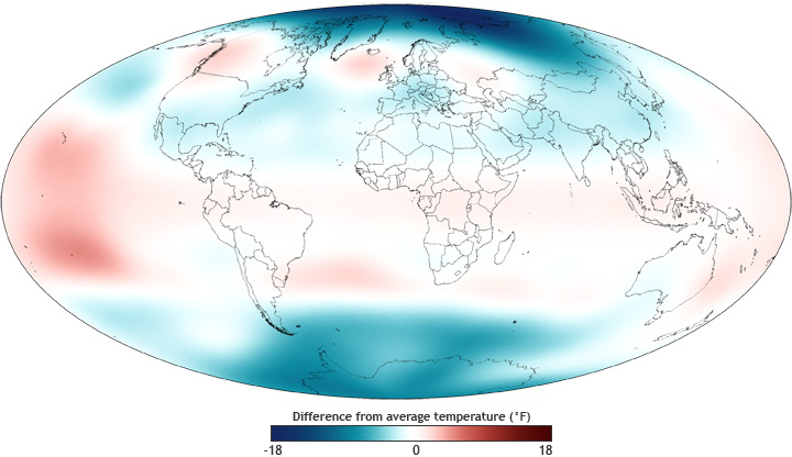Map of global stratospheric temperature, 2011