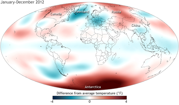 Global map of stratospheric temperature anomalies, 2012