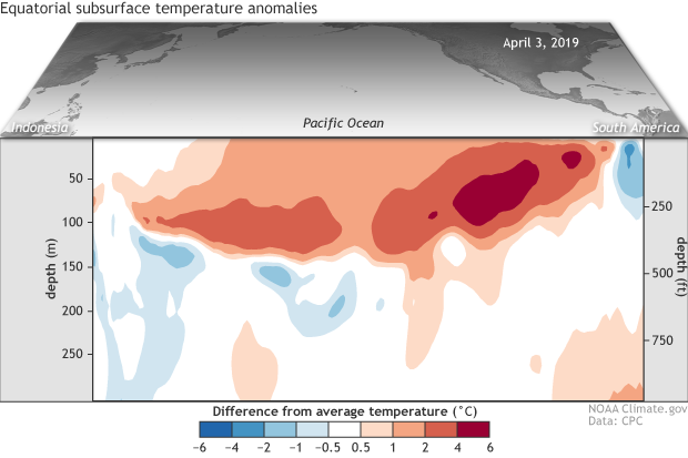 A psuedo-3D map of the Pacific Ocean showing the surface of the North Pacific and a vertical cross-section of temperatures at depth near the equator
