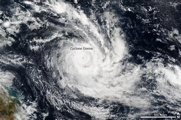 Satellite, Tropical cyclone, Donna, South Pacific