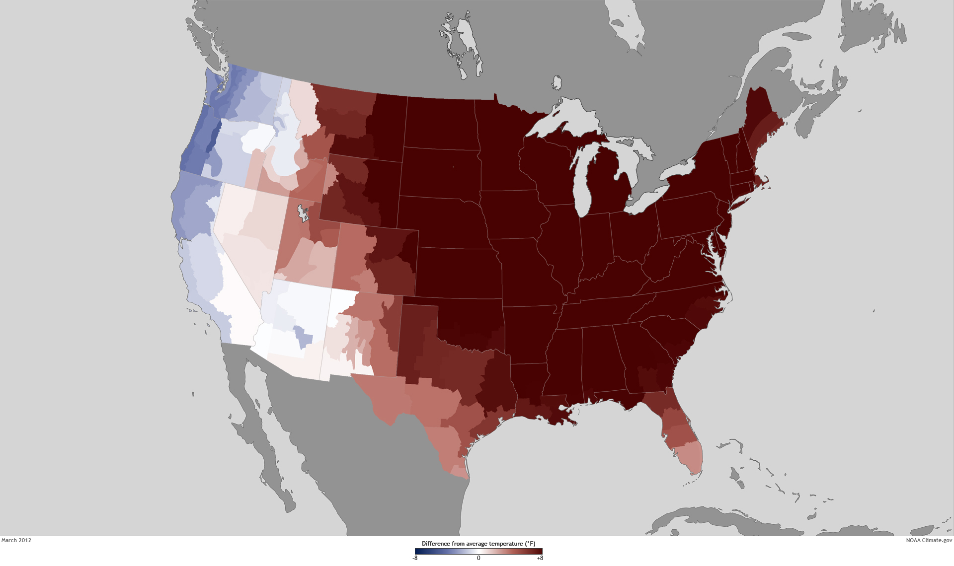 By A Wide Margin Was The United States Warmest Year On - Us average temperature map december