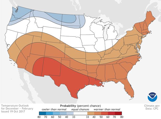 places where the forecast odds favor a much colder than usual winter blue colors or much warmer than usual winter red or where the probability of a