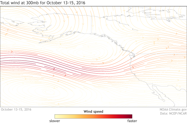 300mb wind, Pacific Ocean, western United States, anomaly, jet stream