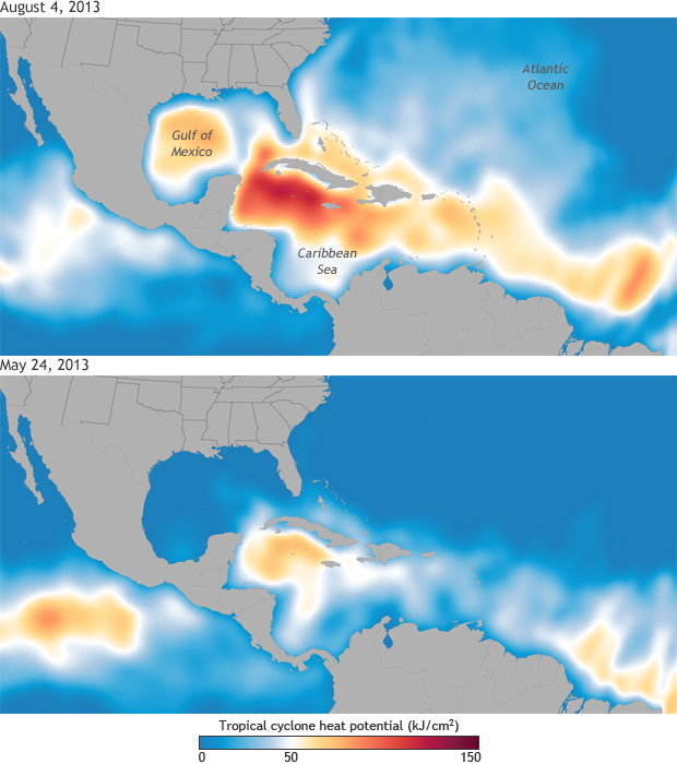 Map showing comparison of hurricane heat potential on May 24 and August 4, 2013
