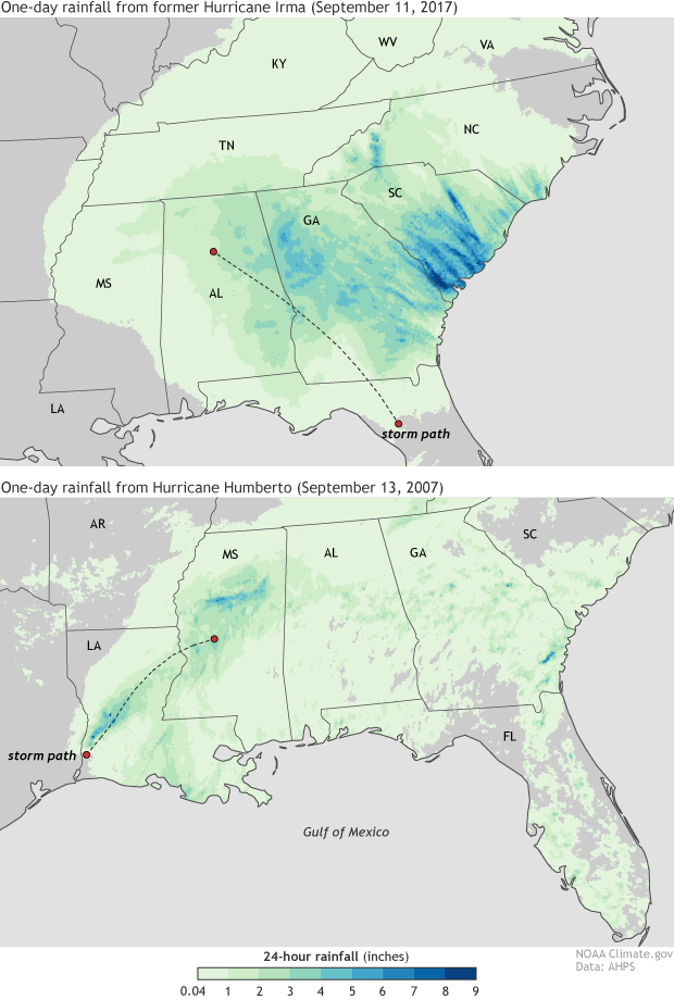 Map of the U.S. Southeast showing extreme rain linked to former Hurricane Irma in September 2017