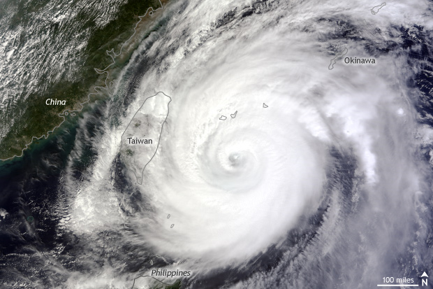 satellite image of Typhoon Jelawat in the western North Pacific between Okimawa and Taiwan