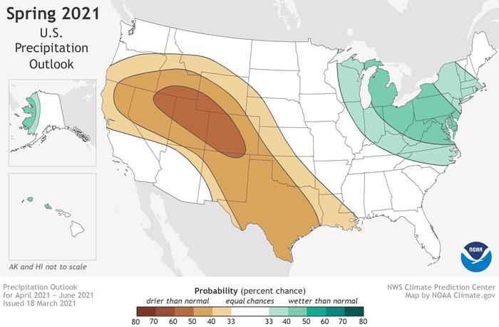 U.S. precipitation outlook for spring 2021 (April-June)