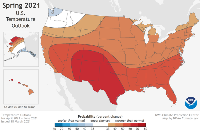 Map of temperature forecast for spring 2021 (April-June)