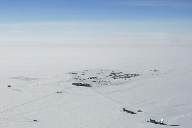 Aerial photo of Amundsen Scott South Pole station in Antarctica