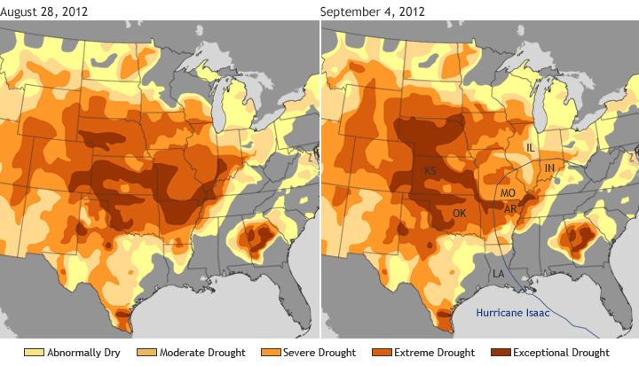 Comparison of U.S. drought maps from August 28 and September 4, 2012