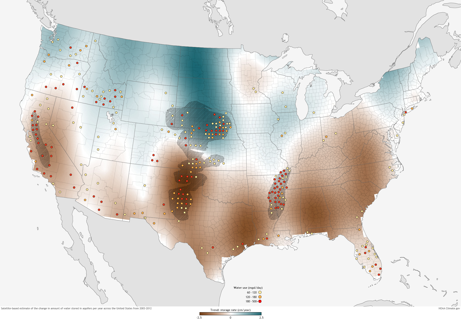 Groundwater Declines Across US South Over Past Decade NOAA - Map of aquifers in us