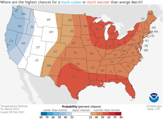 February 2021, Temperature outlook