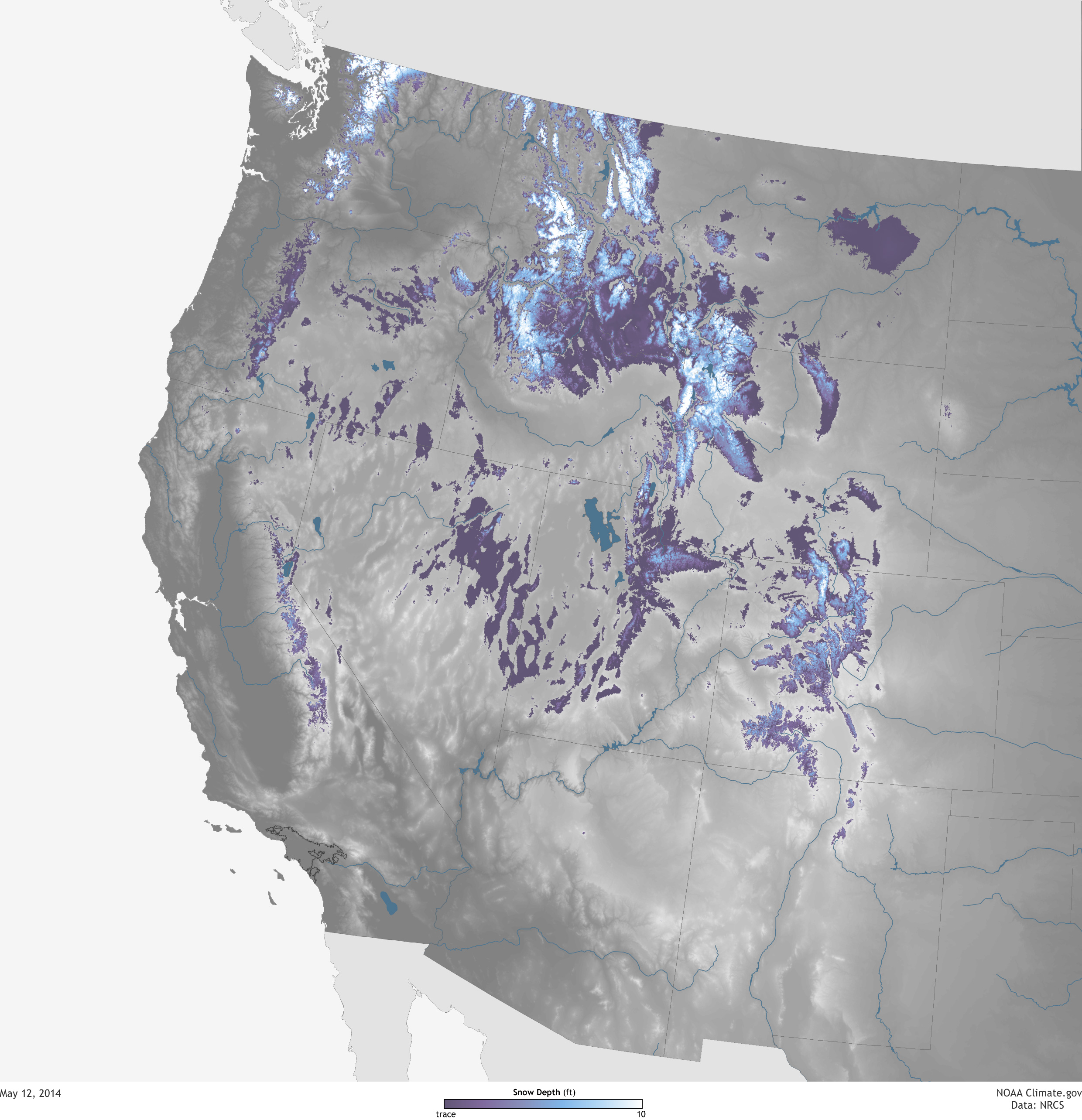 Snowpack Across The US West May NOAA Climategov - Us snowpack map