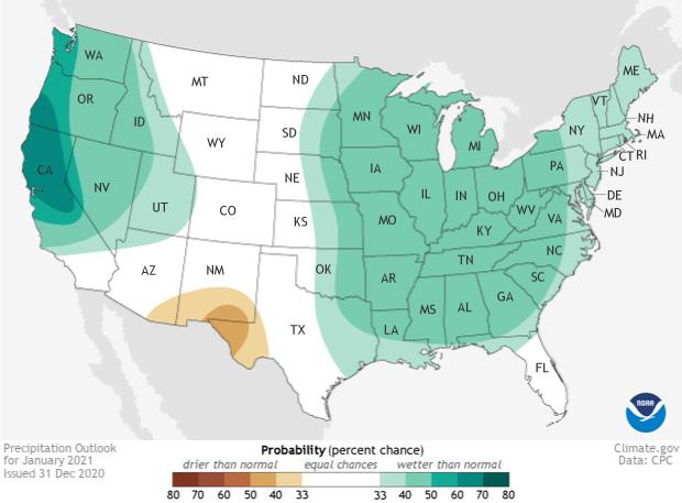 January, 2021, Precipitation Outlook