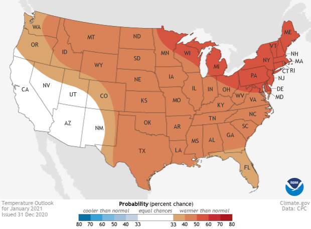 January, Temperature outlook
