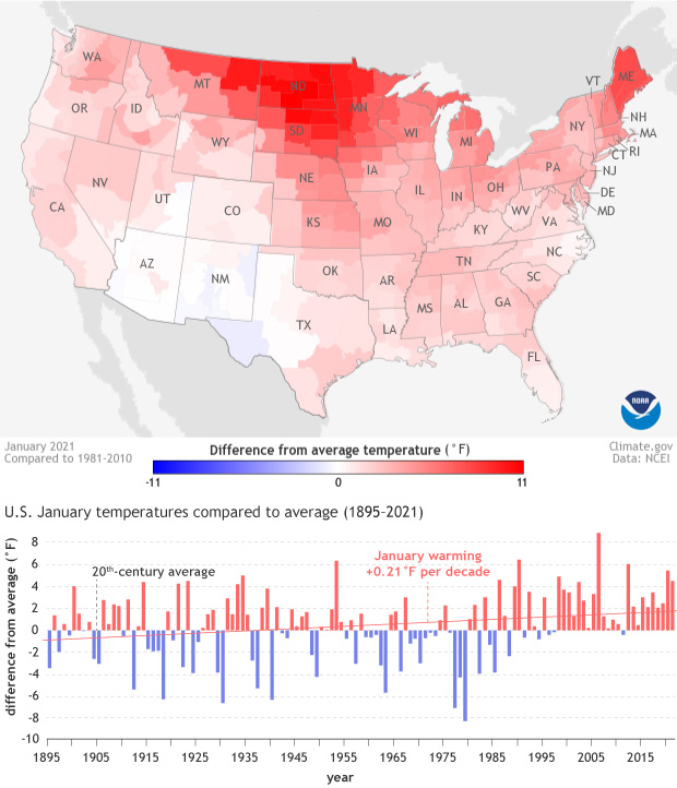 Map of contiguous U.S. showing the January 2021 temperature anomaly and a graph of January anomalies each year since 1895